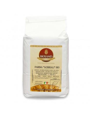 Farina integrale ai 5 cereali 12x1Kg  (20% di: farina int.farro diccocum,farro int. farro spelta,farina d'avena,semola r