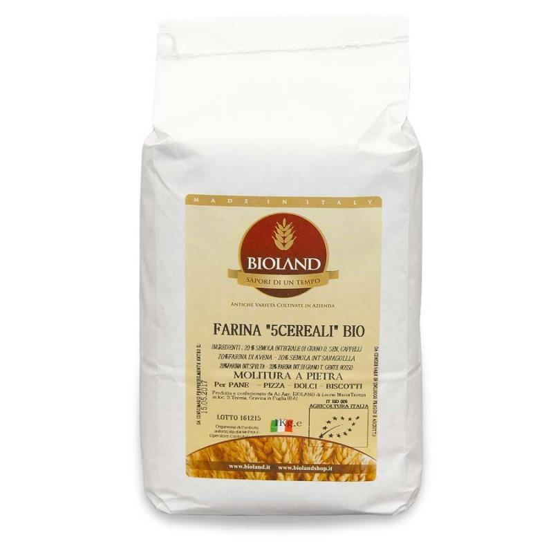 Farina integrale ai 5 cereali 1Kg - 12 pz (20% di: farina int.farro diccocum,farro int. farro spelta,farina d\'avena,semola rim.