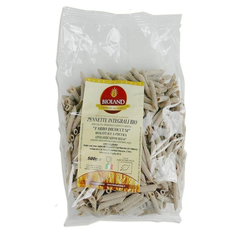 Pennette Rigate - Pasta di Farro Dicoccum Integrale Trafilata al Bronzo 500g - 12 pz